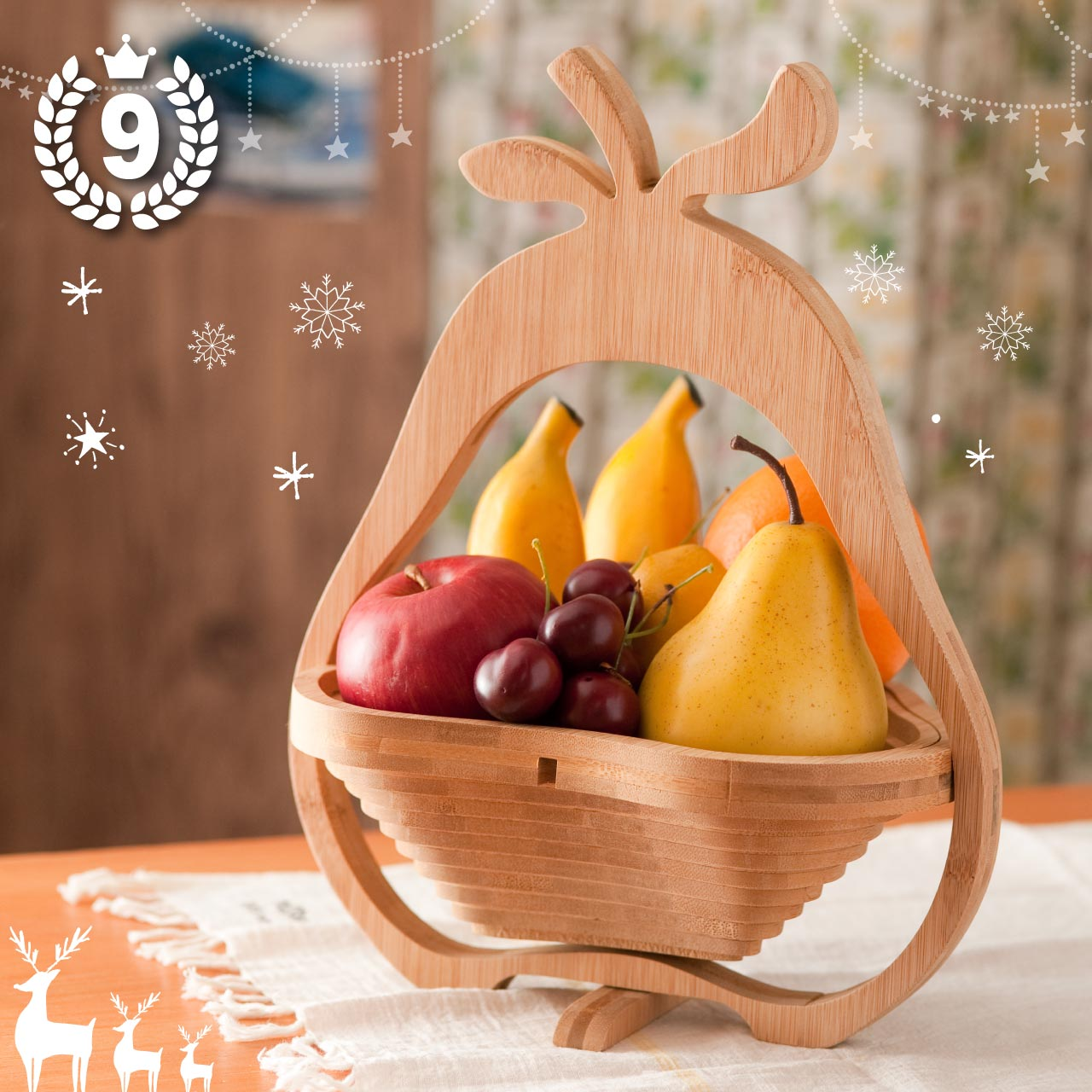FOLDING BAMBOO BASKET PEAR