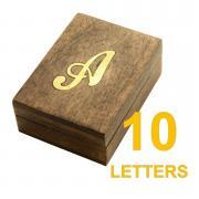 BRASS CURSIVE LETTERED WOODEN BOX