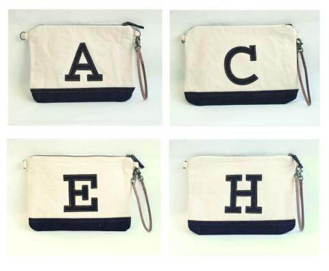LETTERED CLUTCH BAG