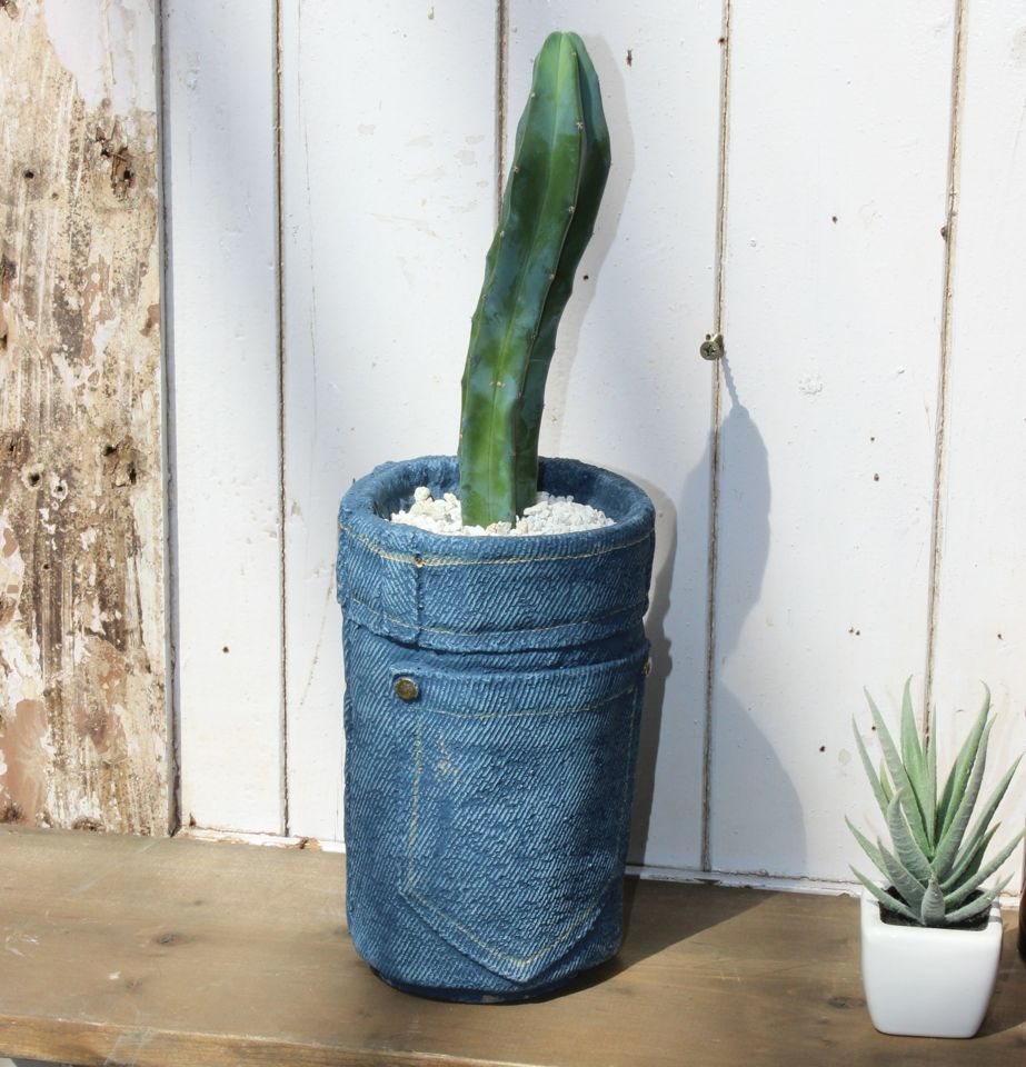 FAKE FINISHED FLOWER VASE BLUE DENIM
